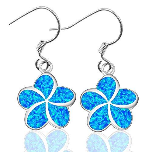 Charm Women's Fashion Plumeria Flowers Pretty White Blue Opal Dangle Stud Earrings Gifts Hawaii Jewelry (Hawaii Plumeria Earrings)