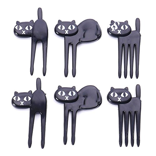 NUOMI 6Pcs Animal Food Picks and Forks for Kids Bento Box Decoration, Fruit Party Picks Accessories]()