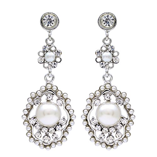 ACCESSORIESFOREVER Bridal Wedding Jewelry Crystal Rhinestone Pearl Vintage Dangle Earrings Ivory