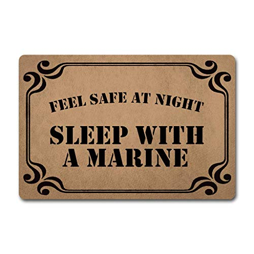 Tracies Decorative Door Mats Feel Safe at Night Sleep with A Marine (23.6 X 15.7 in) Non-Woven Fabric Top with a Anti-Slip Rubber Back MatsFor The Entrance Way Outdoor Doormats (Feel Safe At Night Sleep With A Marine)