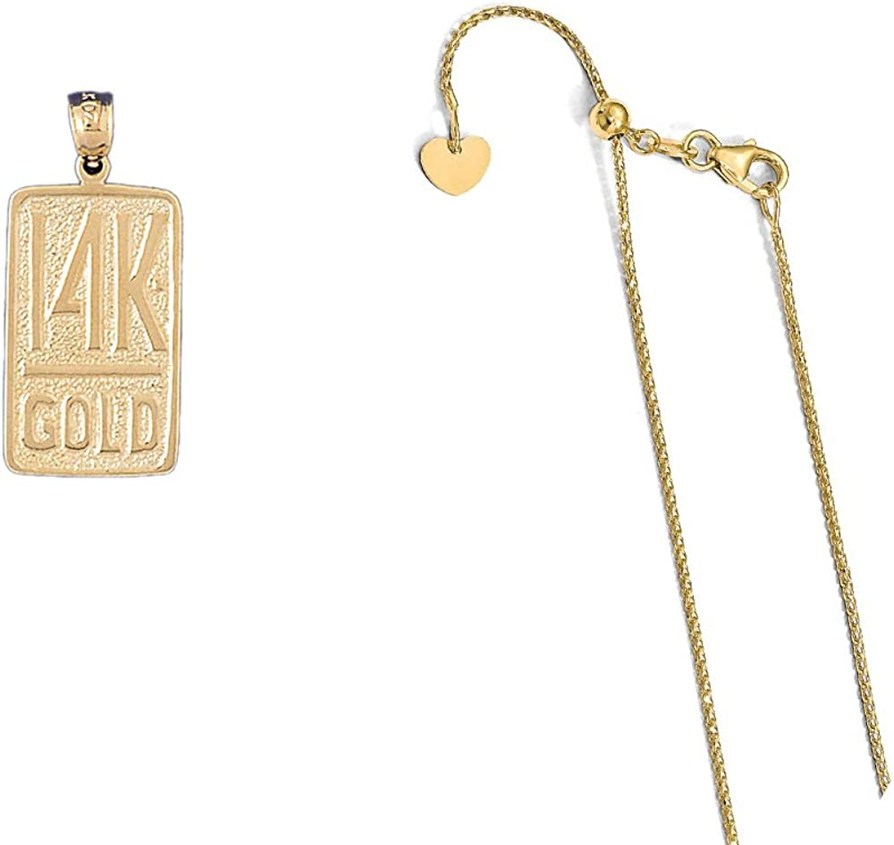 14K Yellow Gold 14K Gold Pendant on an Adjustable 14K Yellow Gold Chain Necklace
