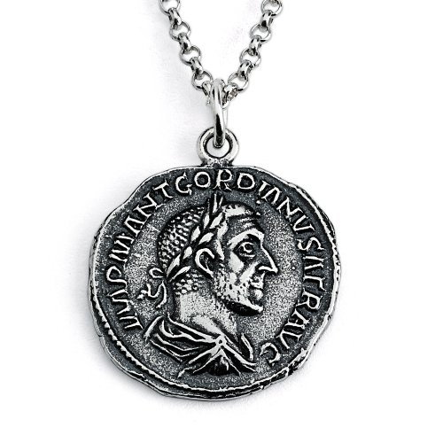 Azaggi Sterling Silver Handcrafted Gordian Roman Emperor Ancient Rome Coin Pendant Necklace (24) (Ancient Coins Roman Silver)