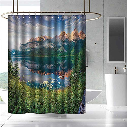 Mountain Shower Curtain with Hooks Sunny Summer Morning on Lake Austrian Alps Crystal Mirroring Water Fairy Season Bathroom Curtain Washable Polyester W55 x L86 Multicolor
