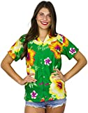 Funky Hawaiian Blouse Shirt, Shortsleeve, Paradise Flower, Green, XS
