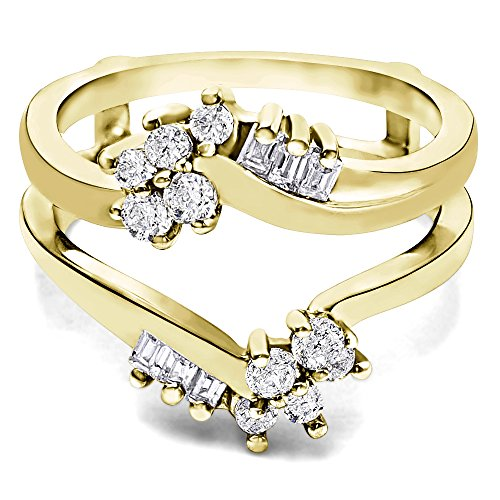 TwoBirch Yellow Plated Sterling Silver Bypass Style Ring Guard with Round and Baguette Stones with Cubic Zirconia (0.47 ct. -