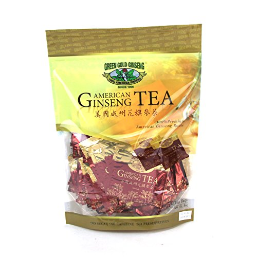 Green Gold Ginseng SKU OT 173-50 | American Ginseng Tea, 50 count | American Ginseng Roots from Marathon County, WI | 50ct bag, B06WWQK999