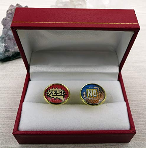 Yes and No Mens Novelty Cufflinks]()