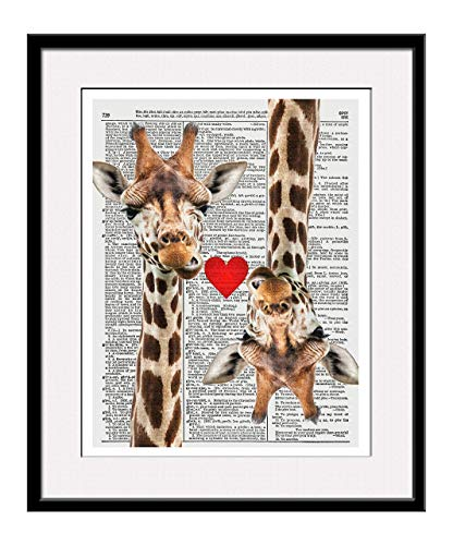 (Giraffe Love 11x14 Inch Reproduction Vintage Dictionary Art Print With