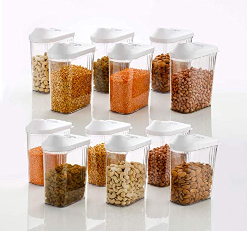 5a3646bd2 MR Products Cereal Dispenser Easy Flow Storage Jar 1500 ml 12 Pcs Set Storage  Containers for Kitchen