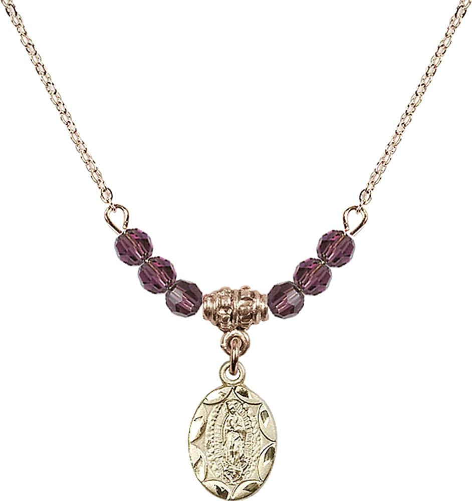 Bonyak Jewelry 18 Inch Hamilton Gold Plated Necklace w// 4mm Purple February Birth Month Stone Beads and Our Lady of Guadalupe