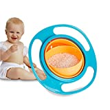 Bowl- Spill Resistant by Pixco Kids Gyroscopic Non Spill Feeding 360 Rotating Bowl Avoid Food Spilling (Blue)