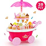 JoyGrow 39 PCS Pretend Play Food Ice Cream Candy Cart Dessert and Cash Trolley Set Toy with Music and Lighting for Kids and GirlsIce Cream Cart 39 PCS Pretend Play Food Dessert and Candy Troll
