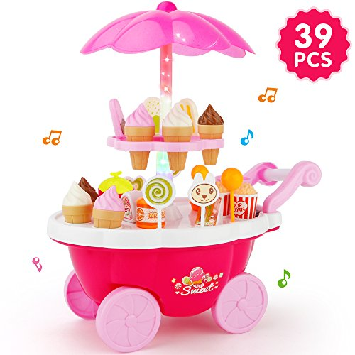 JoyGrow Ice Cream Cart 39 PCS Pretend Play Food Dessert and Candy Trolley Set Toy with Music and Lighting Toys for Girls and Kids. -