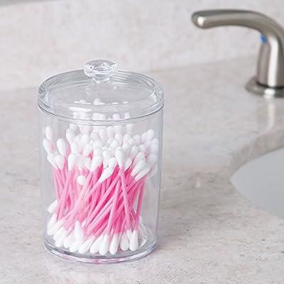 iDesign Bote de plástico con tapa, pequeño algodonero para el ...