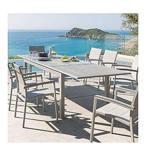 Table Extensible Azua En Bois 12 Personnes Gris Silver Mat