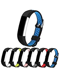 StrapsCo Perforated Rubber Replacement Watch Band Strap for Fitbit Alta & HR
