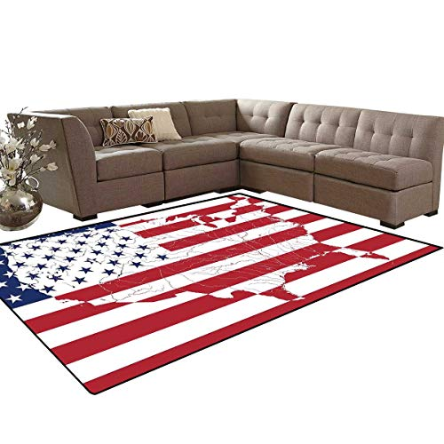 (American Flag Door Mats Area Rug America Continent Shaped Flag Martial Design International World Glory Print Anti-Skid Area Rugs 6'x9' Navy Red)