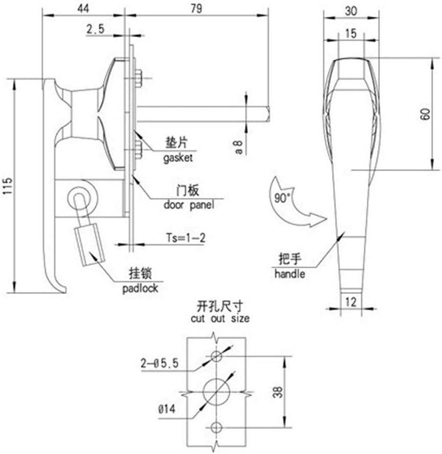 Easy Installation Door Lock Handle Lock Electrical Cabinet Zinc Alloy Handle Lock Stainless Steel Size : 2220