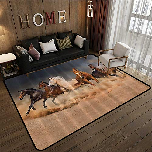 Rugs,Horse Country Khaki,Masculine Running Horses Southwestern Gifts for Equestrians Farm,Brown Charcoal Gray Cream 35