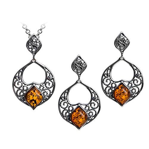 Sterling Silver Amber Filigree Earrings and Pendant Set 18