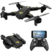 WiFi FPV Foldable RC Drone with Camera - Amazingbuy Selfie Drones 2.4G Folding RC Quadcopter Drone Altitude Hold 3D Flips Rolls 6-Axis Gyro Gravity Sensor RTF
