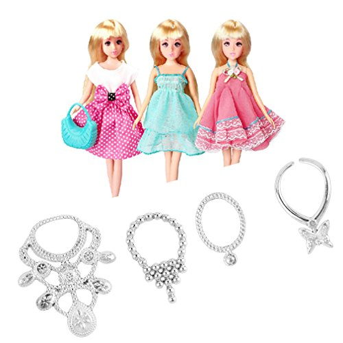 6 pcs/Set Fashion Plastic Chain Necklace for Barbie Doll Party Accessories Fashion Jewelry Necklace for Dolls Big Sale