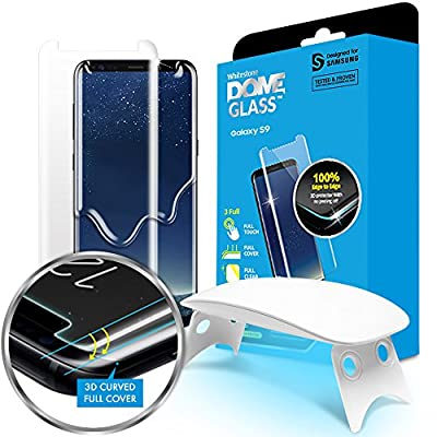 Galaxy S9 Screen Protector Tempered Glass Shield, Full Screen Coverage 3D Curved Dome Glass [Liquid Dispersion Tech] Easy Install Tray and UV Light by Whitestone for Samsung Galaxy S9 (2018)