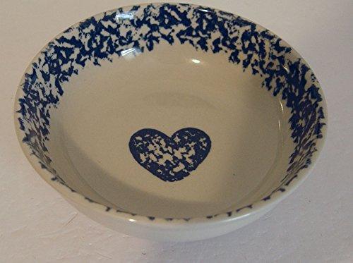 TIENSHAN POTTERY FOLK CRAFT SPONGE Blue Hearts Cereal Bowl