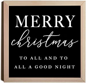 EricauBird Wood Sign,Merry Christmas to All and All a Good Night, Christmas Print, Wall Art, Christmas Sign, Christmas Decorative Home Wall Art 12x12