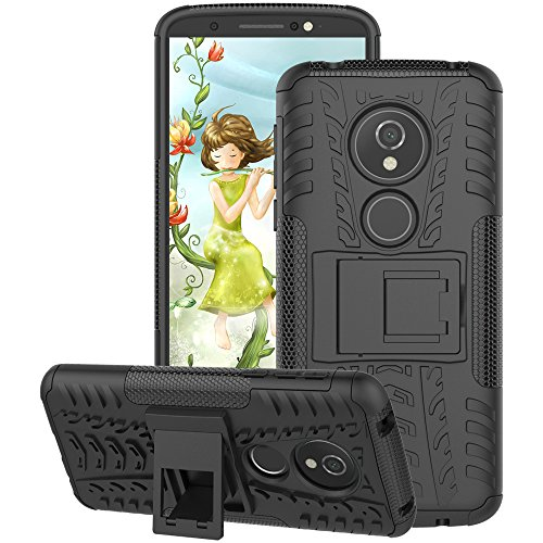 Motorola Moto G6 Play Case 2018, Moto G6 Forge Case, GSDCB Air Cushion Heavy Duty Shockproof Phone Protective Case with Kickstand Hard PC Back Cover Soft TPU Dual Layer for Women Men Girl Boy (Black)
