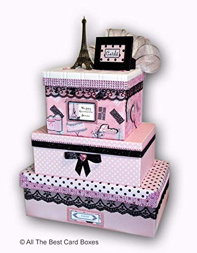 Paris party card box,large,Quniceanera,Sweet 16,Bat Mitzvah,Holds 100 cards,personalized,All The Best Card Boxes -