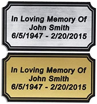 Personalised Sublimated GOLD Metal Plate 64x19mm Nameplate Plaque Engraving