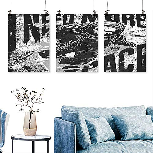 SCOCICI1588 3 Panels Triptych Skull in Spaceman Suit Over Grunge Background Dead Spooky Halloween Theme Print On Canvas No Frame 16 INCH X 30 INCH X -