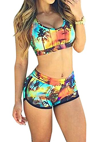 TOP HERE Women's 2017 Bandage Sporty Bathing Suit Boyleg Short Bikini Swimming - Women Bathing Sporty For Suits