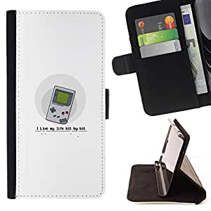 Samsung Galaxy A3 - Dibujo PU billetera de cuero Funda Case Caso de la piel de la bolsa protectora Para (Live My Life Bit By Bit - Funny Gaming)