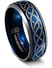 8MM Tungsten Wedding Ring Blue Laser Celtic Knot Wedding Band Engagement Ring for Men