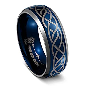 Three Keys Jewelry 6mm 8mm Tungsten Wedding Ring Blue Laser Celtic Knot Engagement Band for Men Women