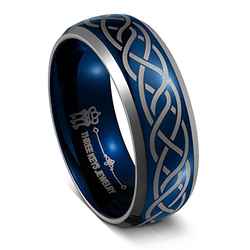 Diamond Scroll Key - THREE KEYS JEWELRY 8MM Tungsten Carbide Wedding Ring Blue Laser Celtic Knot Braid Womens Mens Wedding Band Engagement Ring Promise Ring Dome Beveled Edge Size 10