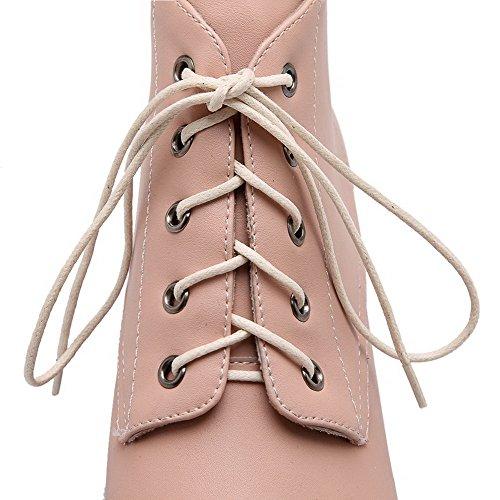 AgooLar Women's PU Toe Solid Kitten Pink Boots Closed up Heels Lace Round qqYrFxd0