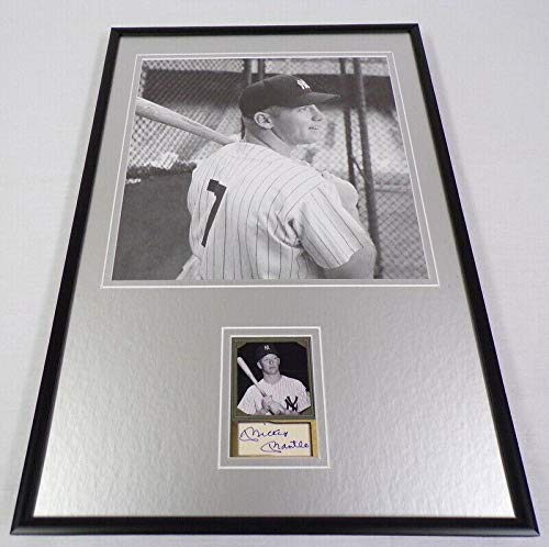 Mickey Mantle Facsimile Signed Framed 12x18 Bat on Shoulder Photo Set Yankees - MLB Autographed Game Used Bats