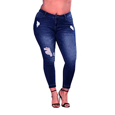 05253a18e46 Clearance Womens Plus Size Jeans vermers Womens Ripped Stretch Slim Denim Pants  Skinny High Waist Trousers