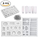 8 Pieces Jewelry Casting Molds Silicone Resin Jewelry Molds With 100 Pieces Screw Eye Pins For Pendant Jewelry Making Diy