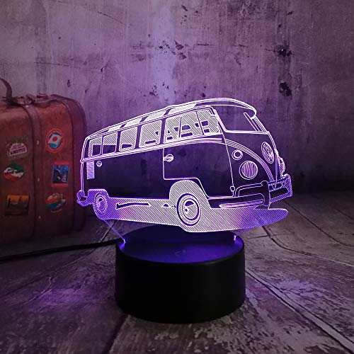 KUKULE New 2019 3D Lamparas Patrol Bus LED 7 Color Change Lava Night Light Bedroom Bedside Lamp Decor Child Kid Xmas Halloween Toy Gift