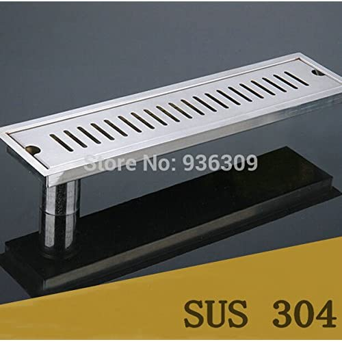 well-wreapped 70x10CM Side Pipe Waste Drain SUS 304 Stainless Steel Nickel Deodorization Type Bathroom Shower Room Rectangle Floor Drain zx25,Black,Warm White (2700-3500K) #39