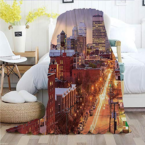 - United States,Throw Blankets,Flannel Plush Velvety Super Soft Cozy Warm with/Richmond Virginia Highway Office Buildings Downtown at Dusk Urban Lifestyle Decorative/Printed Pattern(50