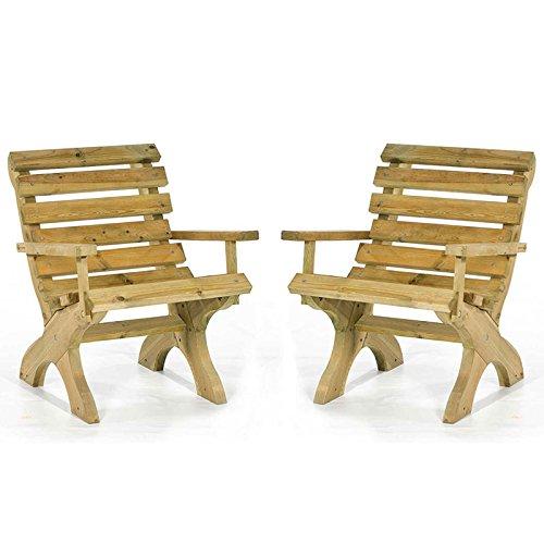 BrackenStyle Two Wooden Outdoor Garden Patio Arm Chairs LeisureBench
