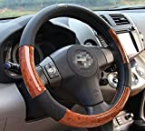 Image of Moyishi Top Leather Steering Wheel Cover Universal Fit Soft Breathable Steering Wheel Wrap (Wood 3)
