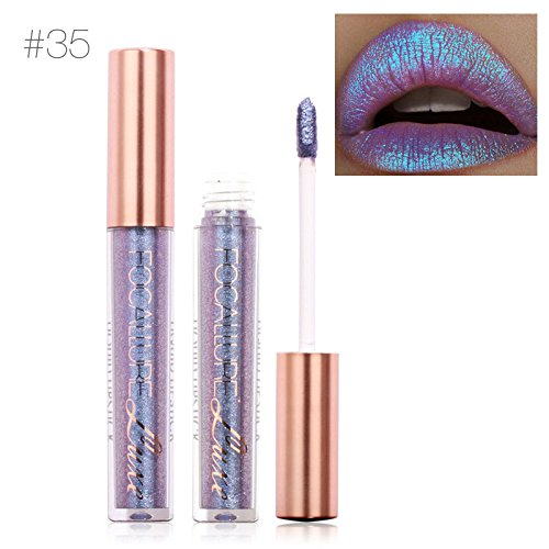 TOPBeauty Fashion Women Glitter Lip Makeup Waterproof Lip Gloss Nude Glitter Shimmer Focallure Lipstick Lip Kit #35