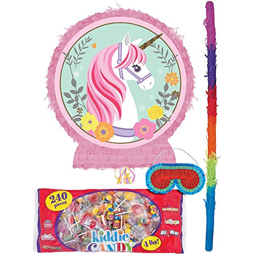 Party City Magical Unicorn Pinata Kit for Birthday Party, Includes Bat, Blindfold and Kiddie Candy Mix (4lb -