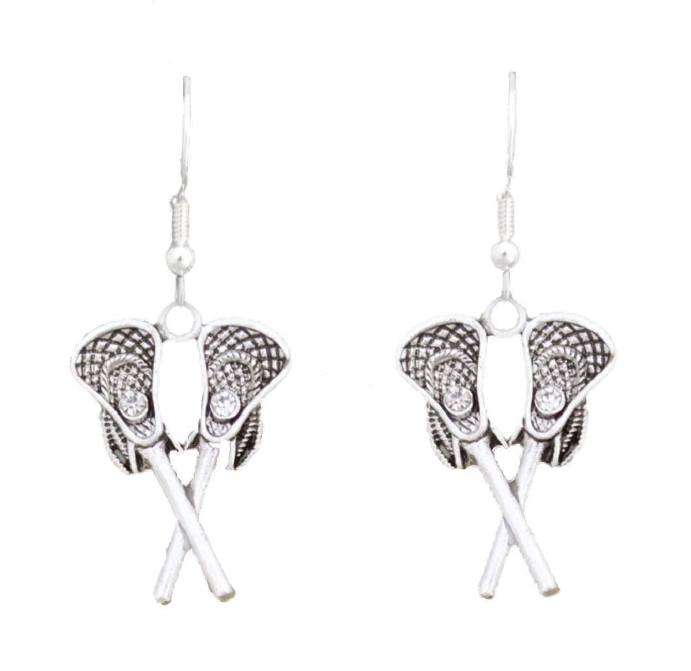 LACROSSE EARRINGS are Embellished with Small Clear Crystals & Faceted Crystal Pucks.Celebrate Your Favorite Sport with these Beautiful Earrings.